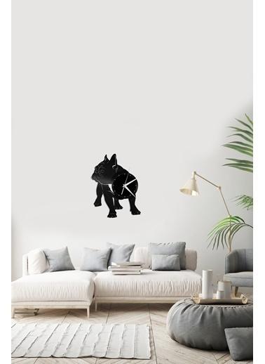 Angemiel Home Bulldog Köpek Pleksi Duvar Saati Siyah